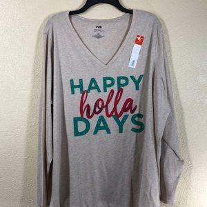 EVRI Tee Top Blouse Tan NWT 2X Happy Holla Days